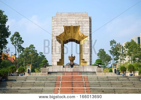 HANOI, VIETNAM - JANUARY 10, 2015: The monument to heroes martyrs of the anti-French revolt of 1886-1887 on the Badin Square