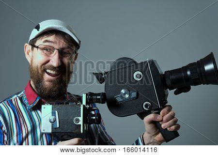 Laughing Bearded Man Two Old Retro Film Camera