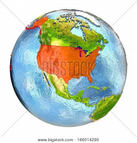 Usa In Red On Full Earth