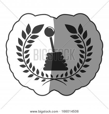 sticker gearshift monochrome with half shaded and olive crown vector illustration