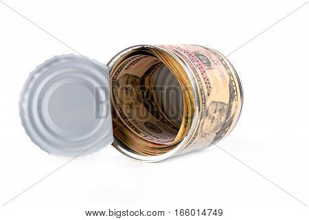 dollar banknotes in the form of a label on a tin galvanized iron with a pack of currency as an element of saving money