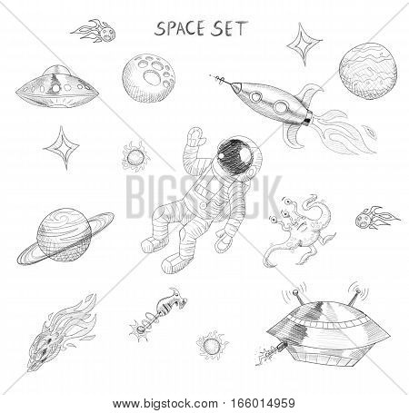 Drawing of space objects: an astronaut, an alien, a ufo, a spaceship, a comet, planets and stars. Space exploration. Extraterrestrial objects. Celestial bodies.