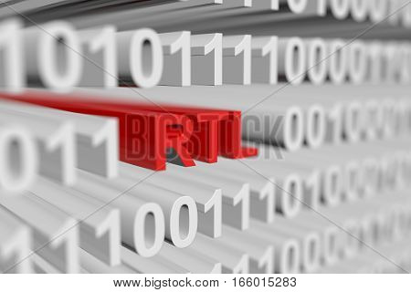 RTL as a binary code with blurred background 3D illustration