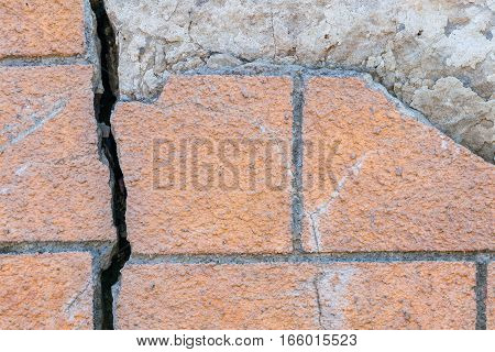 Broken orange walls and foundations with a crack