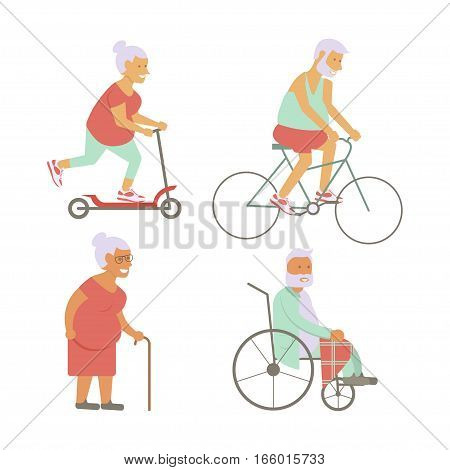 Banner of Retired elderly senior age couple in flat character design. Grandpa and grandma on bicycles. Grandparents with walking stick and invalid chair isolated. Vector illustration eps10
