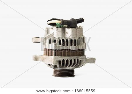 Old alternator for the car on white background
