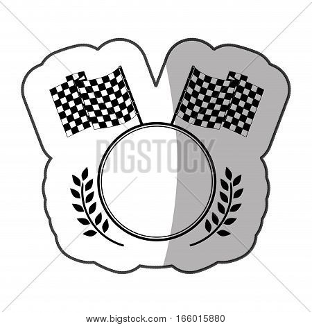 sticker emblem monochrome circle with flags and olive branchs and half shadow vector illustration