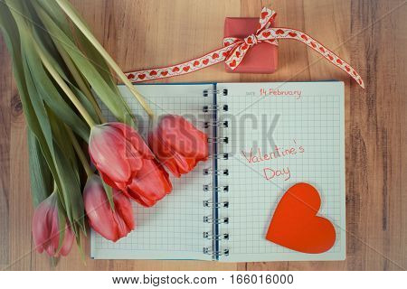 Vintage Photo, Valentines Day Written In Notebook, Fresh Tulips, Wrapped Gift And Heart, Decoration