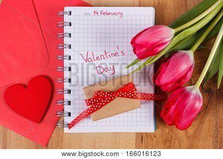 Valentines Day Written In Notebook, Fresh Tulips, Love Letter, Gift And Heart, Decoration For Valent