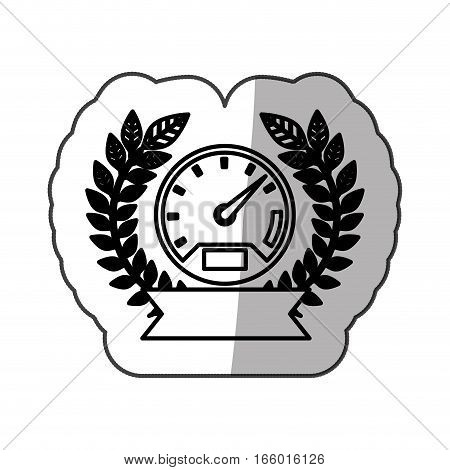 sticker speedometer monochrome with olive crown and ribbon and half shaded vector illustration