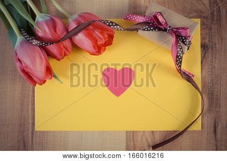 Vintage Photo, Bouquet Of Fresh Tulips, Love Letter, Gift And Heart, Decoration For Valentines