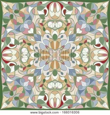 Bright colored handkerchief with abstract pattern for silk scarf or shawl.