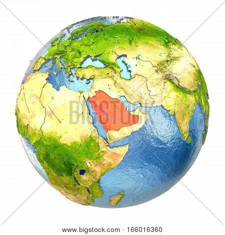 Saudi Arabia In Red On Full Earth