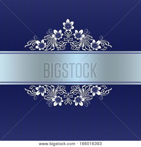 Elegant blue border with white floral ornament for wedding invitation or greeting card to anniversary
