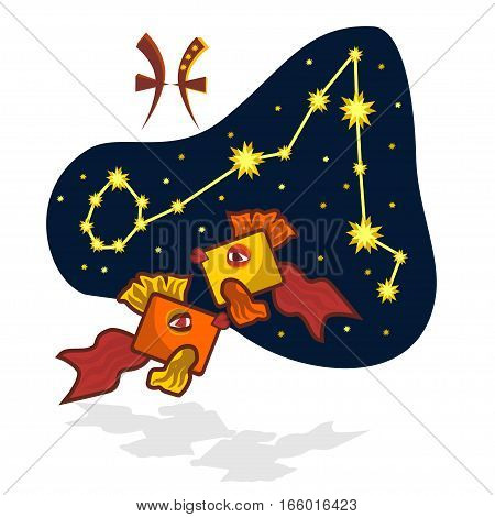 Cartoon Zodiac signs. Vector illustration of the Pisces with a rectangular muzzle. A schematic arrangement of stars in the constellation Pisces