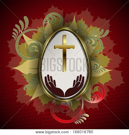 Design with leaves, Easter eggs with a gold border, with a cross and hands
