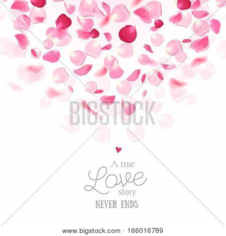 Luxury fresh rose petals is falling in the air romantic vector card. Wedding celebration design frame. Stylish fashion pink backdrop. Saint Valentines template. All elements are isolated and editable.