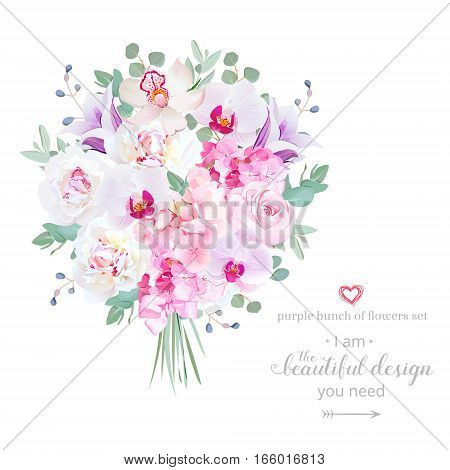 Purple and pink flowers bouquet with peony rose hydrangea bellflower orchid eucalyptus on white vector design set. Modern mixed style. All elements are isolated and editable.