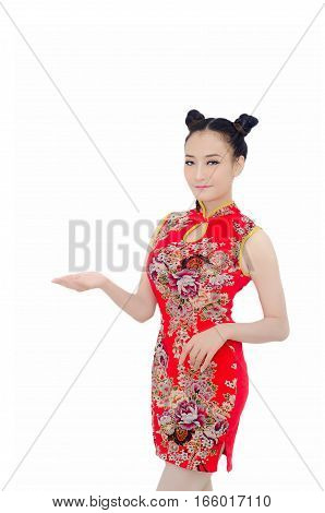 Happy Chinese New Year. Asian Girl With Gesture Of Congratulation On White Background