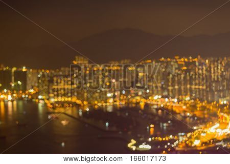 Aerial view blurred Hong Kong crowded residence downtown abstract background