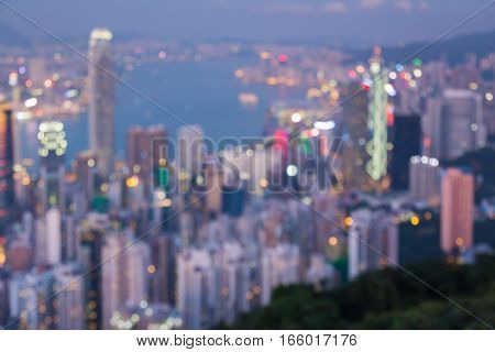 Blurred lights aerial view Hong Kong city office building abstract background