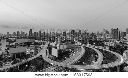 Black and White aeril view Bangkok city downtown background with highway intersection Thailand