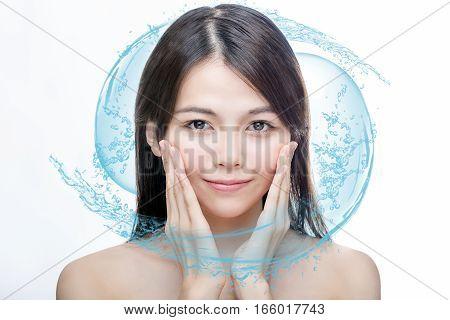 Asian Beauty With Blue Water Splash
