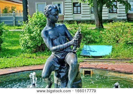KINESHMA, RUSSIA - July 18, 2016: Sculpture fountain -