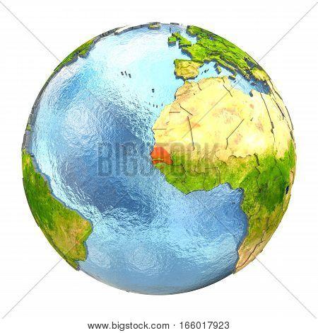 Senegal In Red On Full Earth
