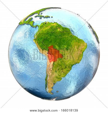 Bolivia In Red On Full Earth