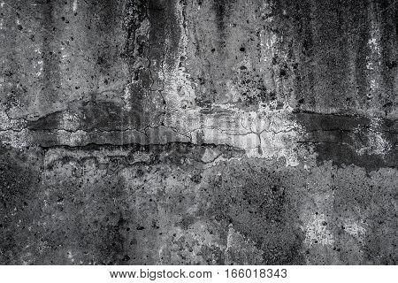 Concrete, gray concrete texture, concrete wall, scabrous concrete background, cracked concrete, black and white