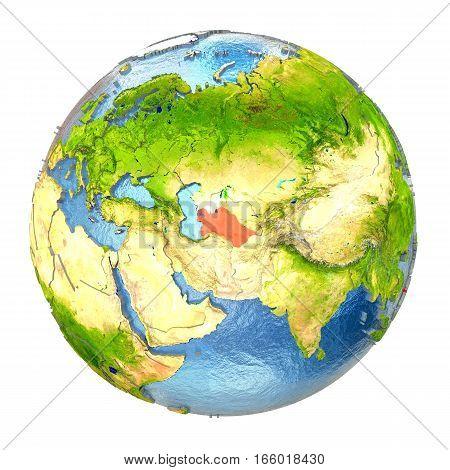 Turkmenistan In Red On Full Earth