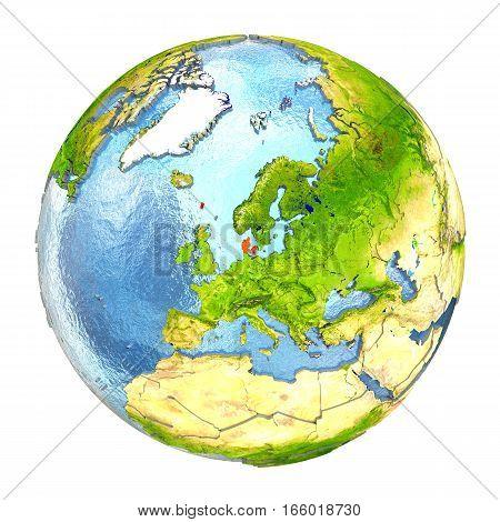 Denmark In Red On Full Earth
