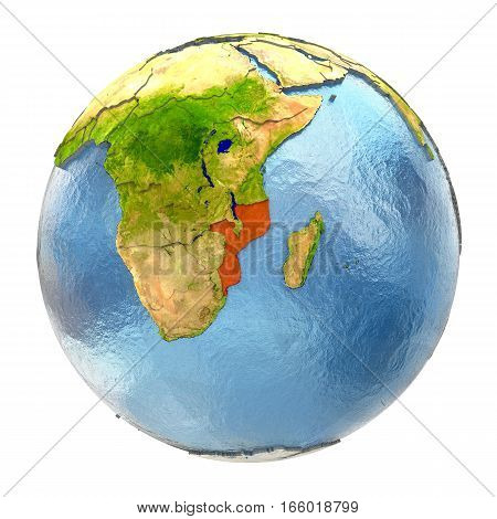Mozambique In Red On Full Earth