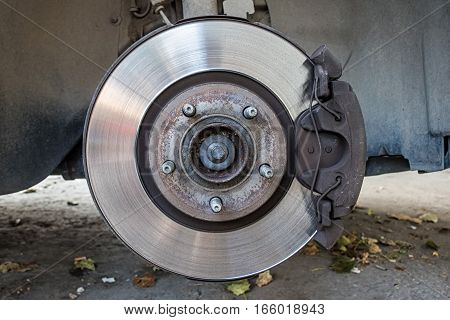 Close up of rim and caliper from disc brake of a car