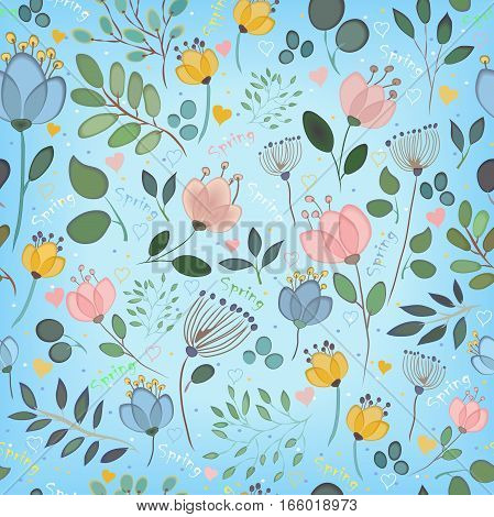 Auroral Seamless pattern with blue background. Colorful watercolor flowers and plants. Spring seamless pattern. Spring inscriptions. Vintage style. Illustration.