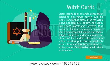 Witch Outfit Conceptual Banner Great flat design illustration concepts for halloween, holiday, horror, night and much more.