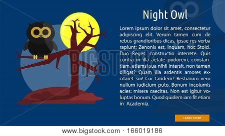 Night Owl Conceptual Banner | Great flat design illustration concepts for halloween, holiday, horror, night and much more.