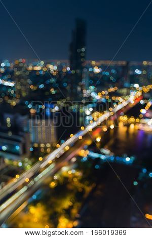 Aerial view city blurred lights night view abstract background