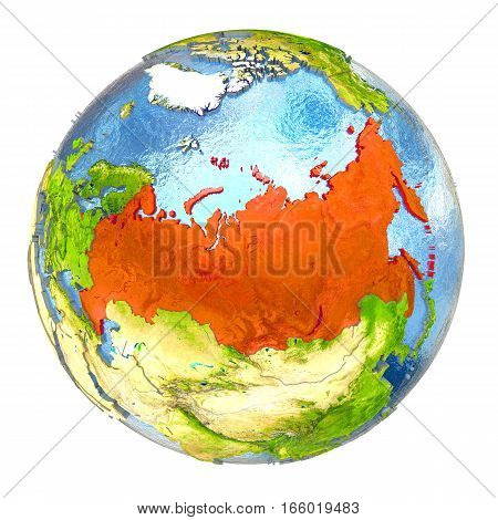 Russia In Red On Full Earth