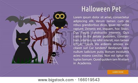 Halloween Pet Conceptual Banner Great flat design illustration concepts for halloween, holiday, horror, night and much more.