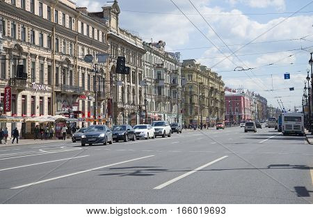 SAINT PETERSBURG, RUSSIA - JUNE 01, 2015: Nevsky Prospekt's first summer day. Saint Petersburg