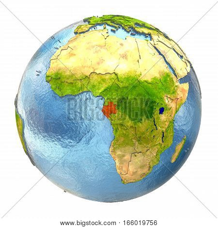 Gabon In Red On Full Earth