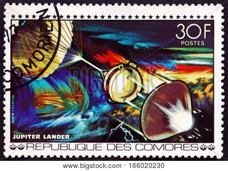 COMOROS - CIRCA 1977: a stamp printed in Comoros shows Jupiter Lander Space Exploration circa 1977