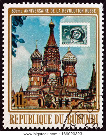 BURUNDI - CIRCA 1977: a stamp printed in Burundi shows Kremlin Moscow 60th Anniversary of Russian October Revolution circa 1977