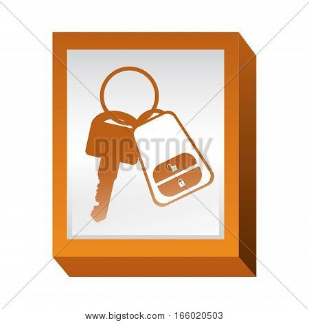 rectangle button with keys and keychain vector illustration