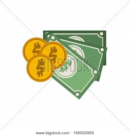set multiple bills with coin vector illustration