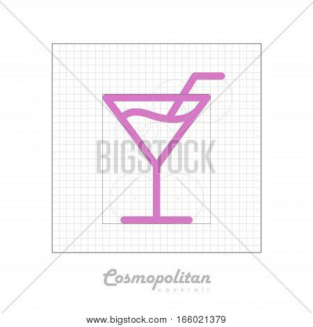 Vector icon of cocktail with modular grid. Cosmopolitan