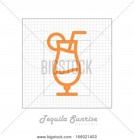 Vector icon of cocktail with modular grid. Tequila sunrise
