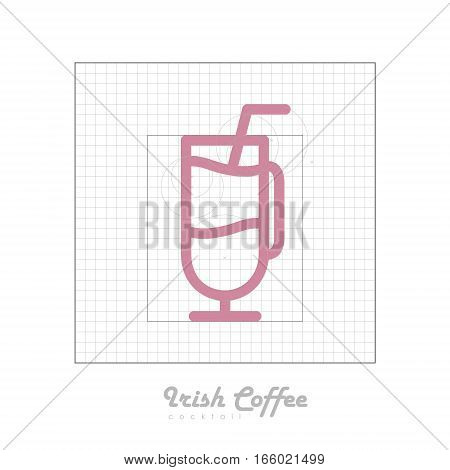 Vector icon of cocktail with modular grid. Irish coffee